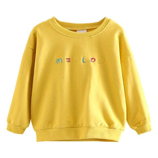 55c48f938f3c3 Bebé Niñas carta sudadera 2017 otoño niños ropa amarilla de manga larga  Camiseta para chica niños