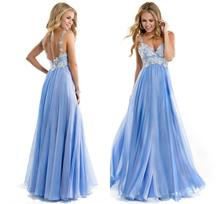V-neck Straps A-line/Princess Lace Applique Floor-length Chiffon Long Prom Dress 2014