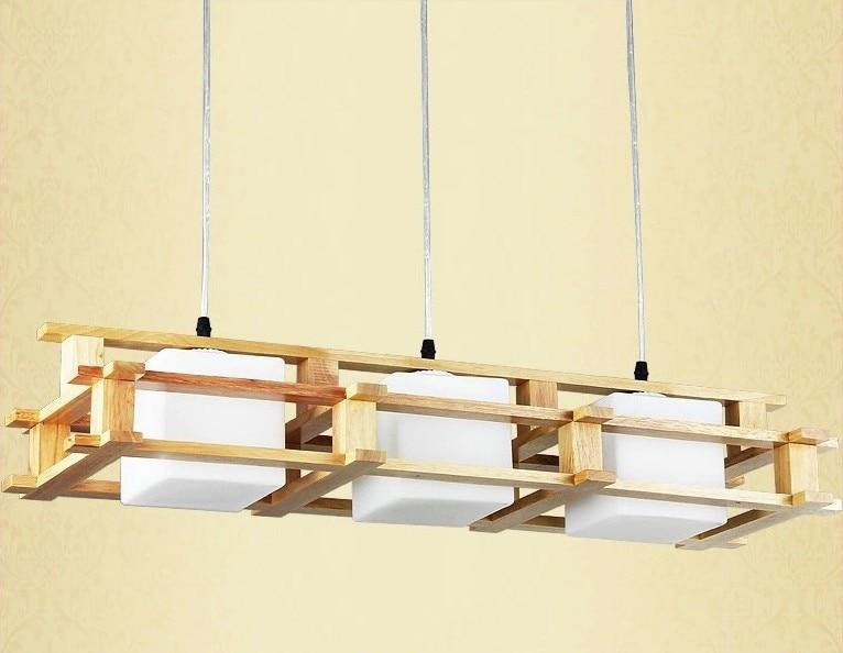 Lampe en bois suspension Loft VintageRestaurant chambre salle à manger suspension lampe luminaire sans ampoule E27
