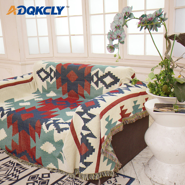 Adqkcly Bohemia Tels Sofa Cover 100 Cotton Double Side Color 2 3 Seaters Slipcover For Bedspread Sheet Throw Blankets