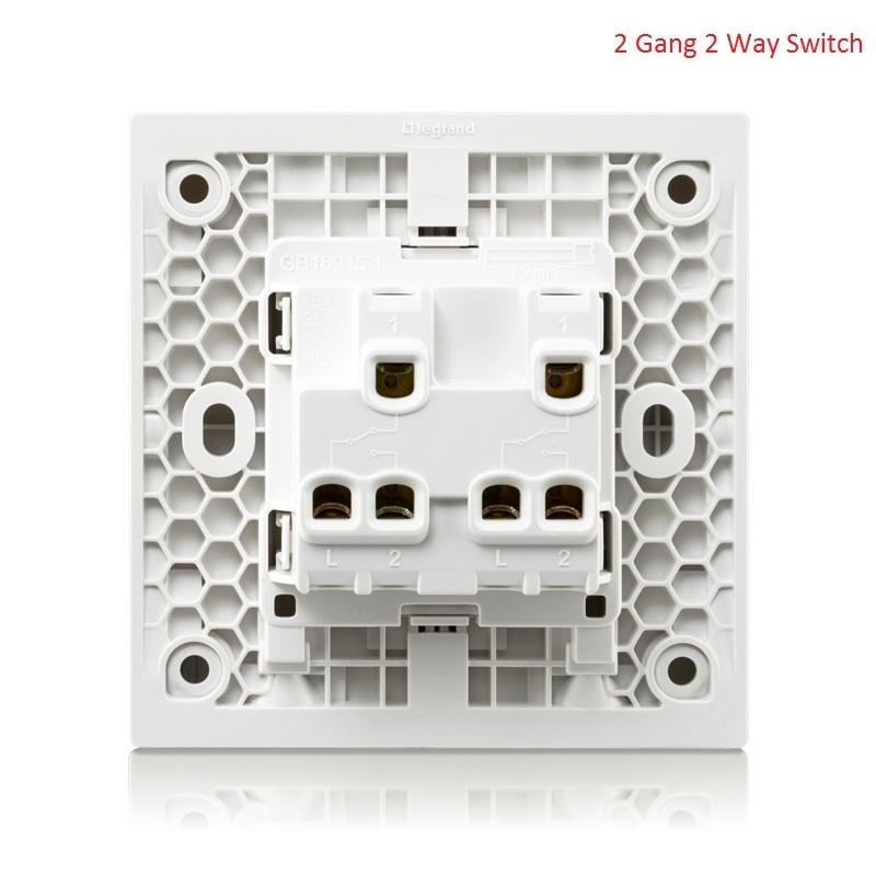 High Quality 2 Gang 3 Way Wall Switch Kit Magnolia White Large Panel