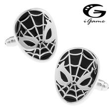 iGame Men Cufflinks Quality Brass Black Spiderman Cuff Links Free Shipping