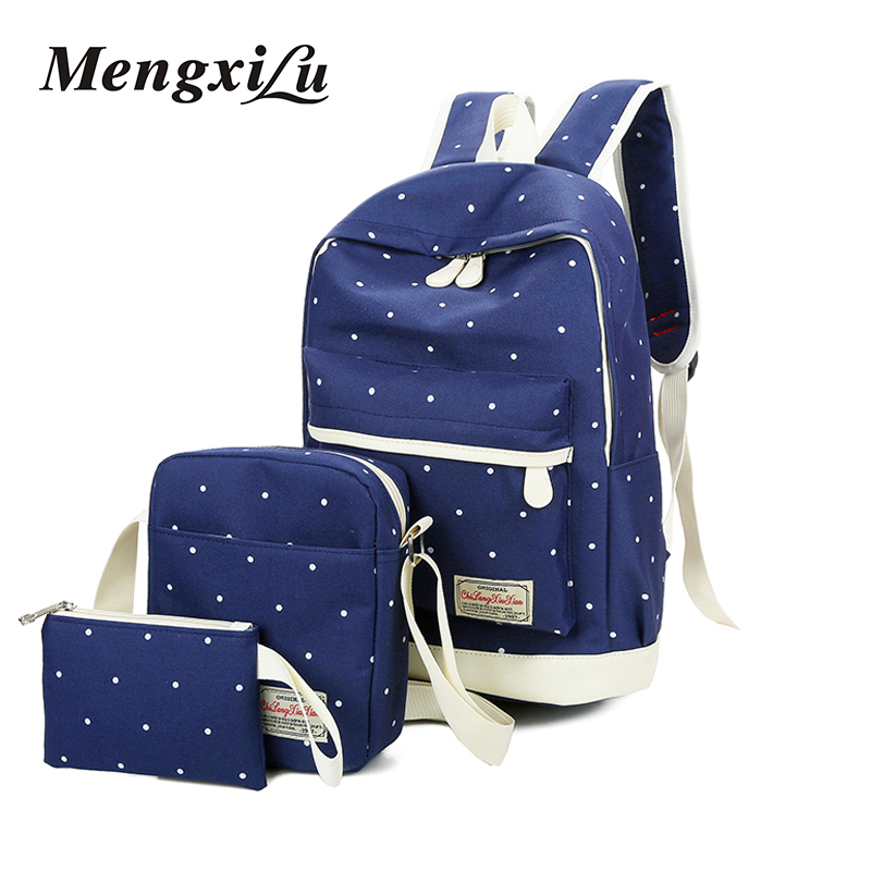 Canvas Backpack Women Dot School Bag For Teenagers Girls Preppy Style Composite Bags Set Travel High Quality Female Backpacks purple flowers printed dream teenagers backpack fresh preppy adorable sthdents school bags fashion travel hiking computer bag