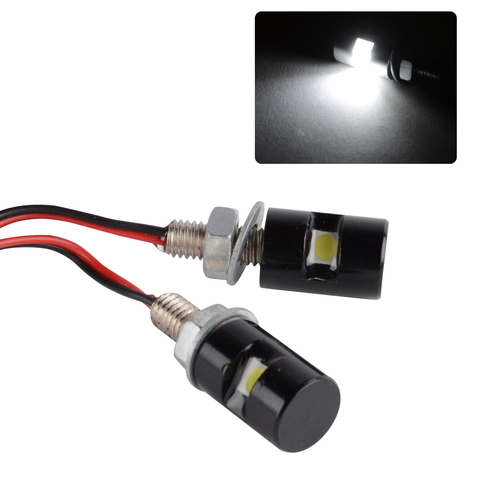 2X New White Motorcycle Mini License Plate Screw Bolt Light Black For Car Motor Motorbike DC 12V SMD LED Bulb Lamp