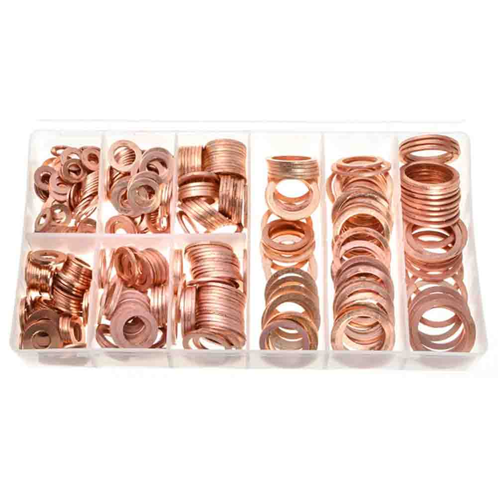 New 400pcs/kit Solid Copper Crush Washers 9 Sizes Assorted Seal Flat Ring Set Professional Hardware Accessories With Easy And Simple To Handle Fasteners & Hooks Hardware