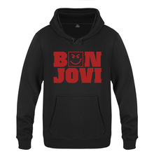Bon Jovi Hoodie Cotton Winter Teenages Bon Jovi Logo Sweatershirt Pullover With Hood For Men Women gibson logo men s hoodie small