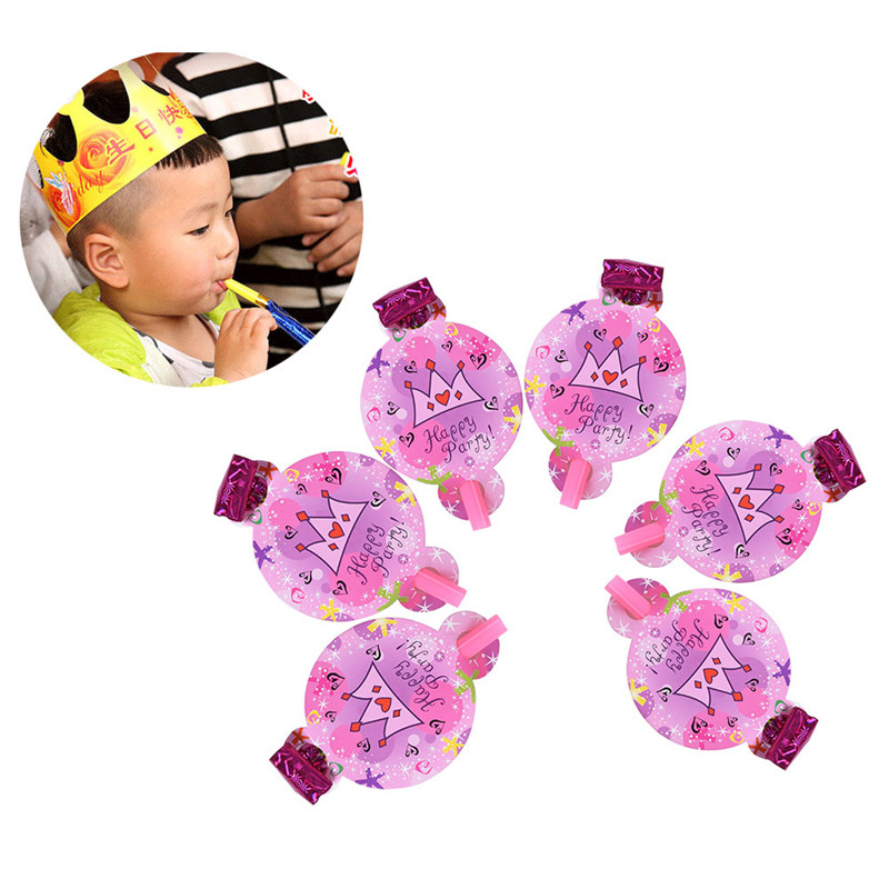 6 pcs Funny Colorful Whistles Kids Childrens Birthday Party Blowing Dragon Blowout Baby Birthday Supplies Toys gifts