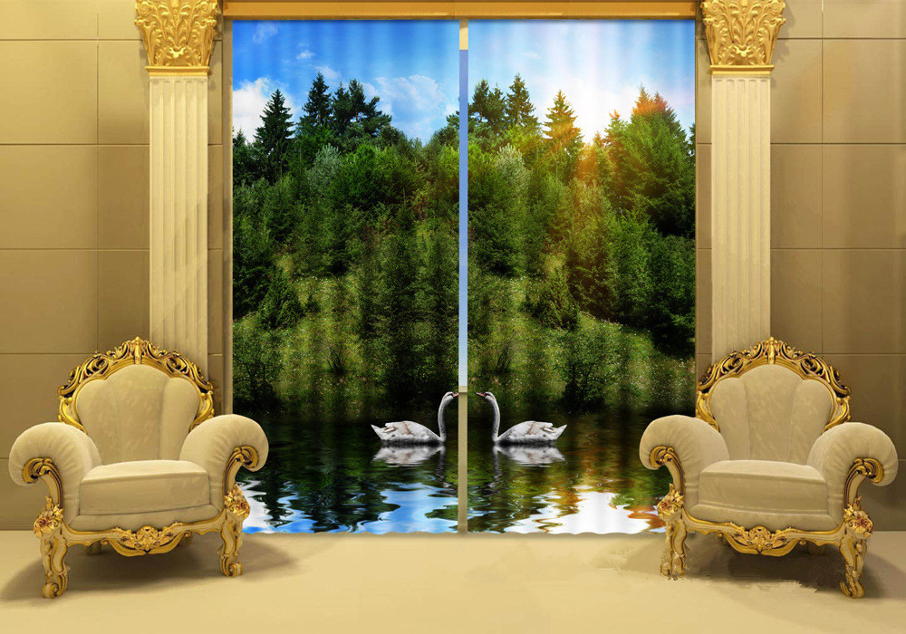 Photo Of Lakeside Swans 3D Window Curtain For Living Room