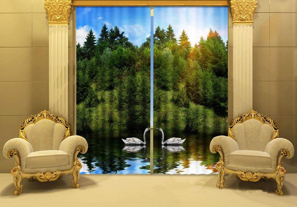 사진 호숫가 백조 3D 창 커튼 거실-에서커튼부터 홈 & 가든 의  그룹 1