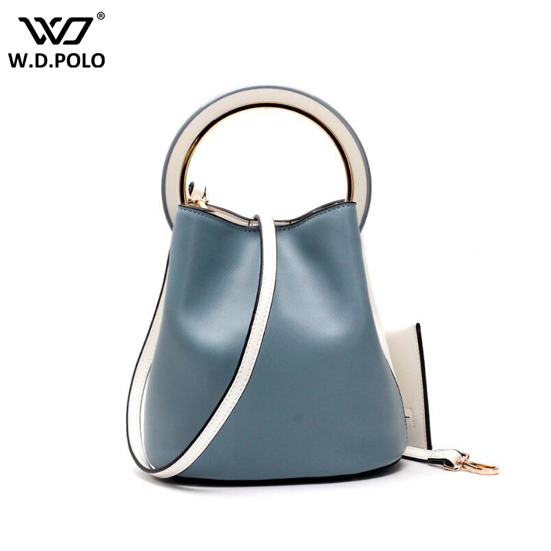 New Fashion Split Leather Ring Hand Bag Chic Split  Leather Bucket Women Bag With Purse Luxury Vintage Chain Shoulder bags C568 new split leather snake skin pattern women trunker handbag high chic lady fashion modern shoulder bags madam seeks boutiquem2057