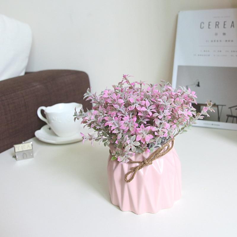 Zinmol Silk Valentine 's Grass 가정 결혼식 용 잔디 인공 잔디 정원 발코니 장식 하우스 장식품 1 세트