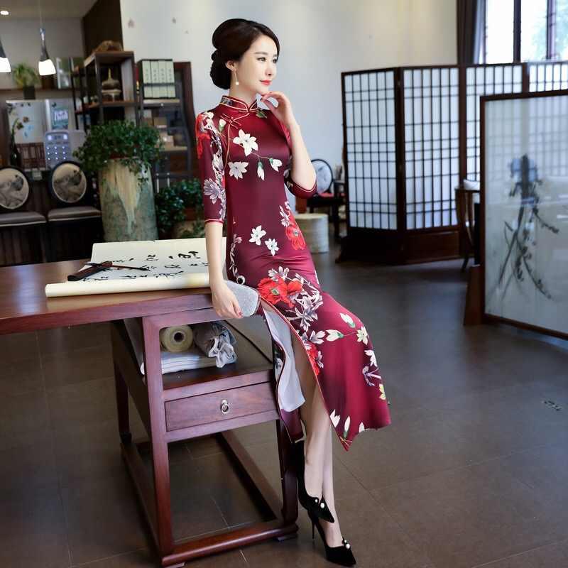 62cfb6c28 ... Traditional Chinese Dress female Long Qipao Elegant slim Double Layer  Silk Grosgrain Cheongsam banquet dress women ...