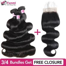 Купить Необработанные индийские пучки волос отправить бесплатно закрытие натуральные неокрашенные волосы пучки волн тела Funmi человеческие волосы пучки 8-28 дюймов