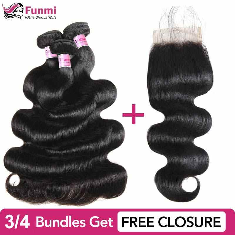 Buy Raw Indian Hair Bundles Send Free Closure Unprocessed Virgin Hair Body Wave Bundles Funmi 100% Human Hair Bundles 8-28inch