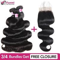 Buy Raw Indian Hair Bundles Send Free Closure Unprocessed Virgin Hair Body Wave Bundles Funmi 100% Human Hair Bundles 8 28inch