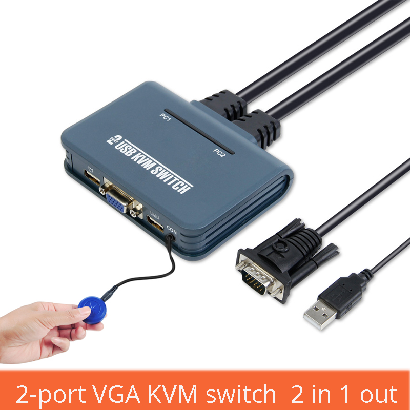 2 Port VGA KVM Switch Two Into One Out Usb Mouse Keyboard Sharing Device Line Machine One Multi Computer Switch