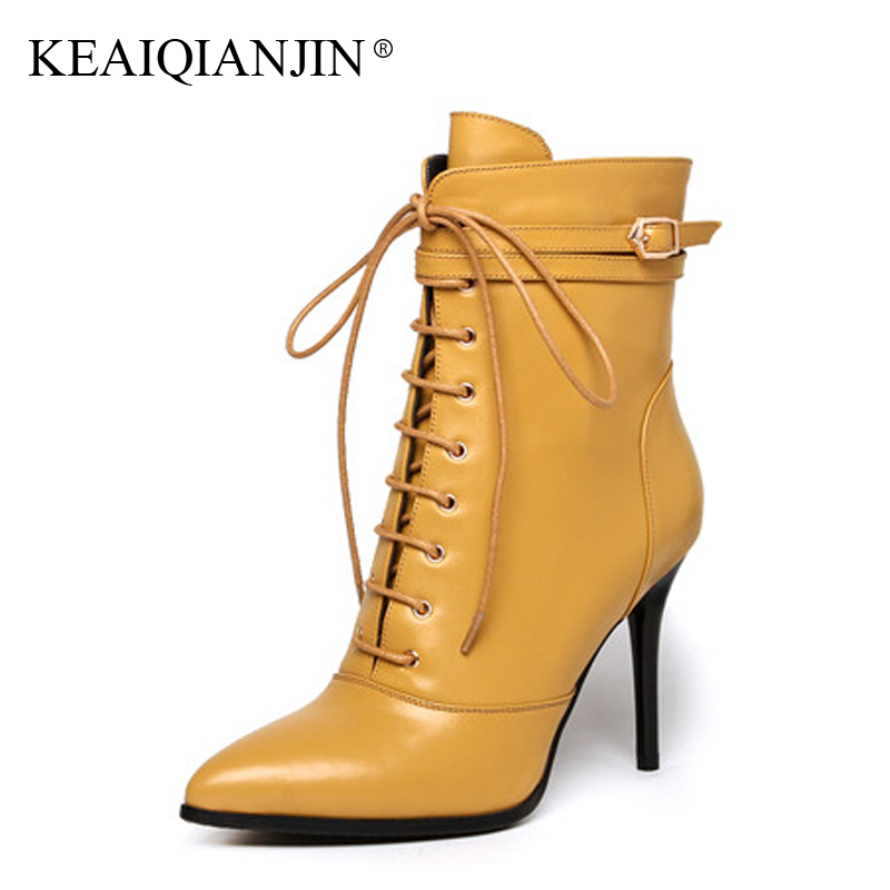 KEAIQIANJIN Woman Pointed Toe Boots Lace Up Plus Size 33 - 43 High Heel Boots Autumn Winter Black Genuine Leather Ankle Boots odetina fashion genuine leather ankle boots flat woman round toe platform lace up boots autumn winter casual shoes big size 43