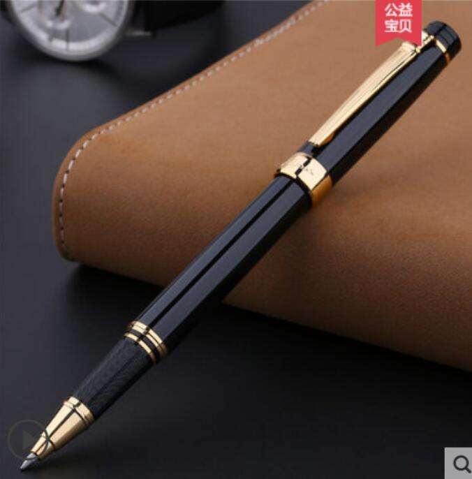 Pimio 917 Luxury Black and Silver Clip Roller Ball Pen with 0.7mm Black Ink Refill with Original Gift Box Ballpoint Gift Pens wholesale sales promotion ballpoint pen jinhao 1683 gold roller ball pen steel metal dragon gift silver send a refill yy12