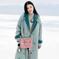 Оригинальный дизайн осень и зима 2017 новое поступление птица вышитые пальто свободные длинные Винтаж шерстяное для женщин