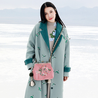 Original Design Autumn and Winter 2017 new arrival bird embroidered overcoat loose long vintage wool coat women