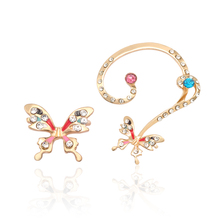 2019 New Creative Color Butterfly Rhinestone Earrings Charm Ladies Fashion Hollow Insect Jewelry Dropshipping