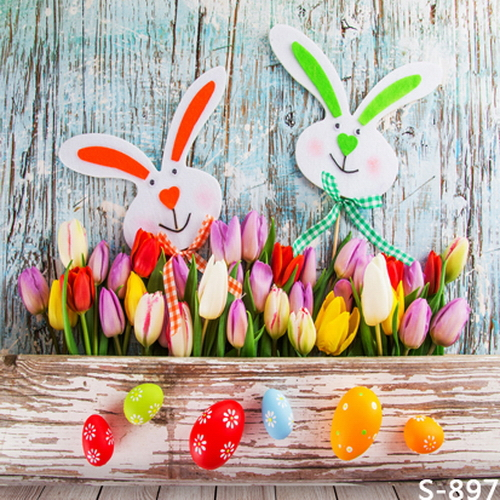 Photography backdrop Easter rabbit and eggs photography backdrops vinyl digital cloth for kids photo studio background S-897 easter day eggs in straw photography backdrops dry branches fotografia photo background for photo studio photography background