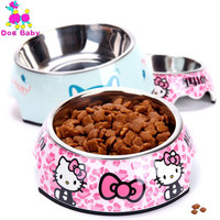 DOGBABY Stainless Steel Dog Bowl Pink Blue Cats Bowls Print Pattern Pet Food Feeders Health Plastic