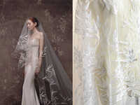 Bamboo Leaf Ivory Tulle Lace Fabric Gauze Fabric For Bridal Headpiece, Capelets, Overlays, Wedding Dress