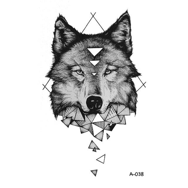 Wyuen Conception Geometrique Loup Tatouage Temporaire Pour Adulte