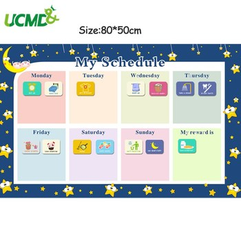 Magnetic Reward Activity Chores Chart Calendar Kids Weekly Planner Schedule Wall Sticker Educational Toys for Children 80x50cm