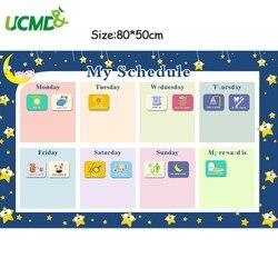 Magnetische Belohnung Aktivität Aufgaben Diagramm Kalender Kinder Wöchentlich Planer Zeitplan Wand Aufkleber Pädagogisches Spielzeug für Kinder 80x50cm