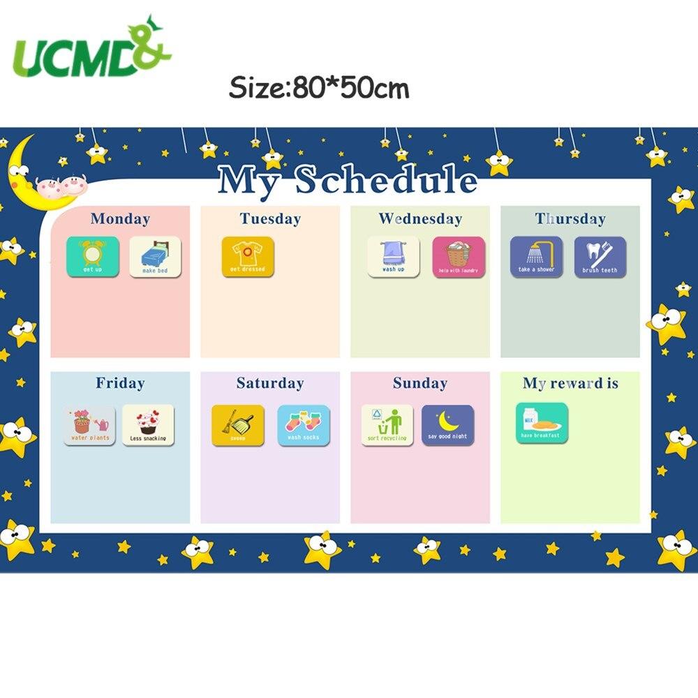 Récompense magnétique activité corvées tableau calendrier enfants agenda hebdomadaire calendrier Sticker mural jouets éducatifs pour enfants 80x50cm