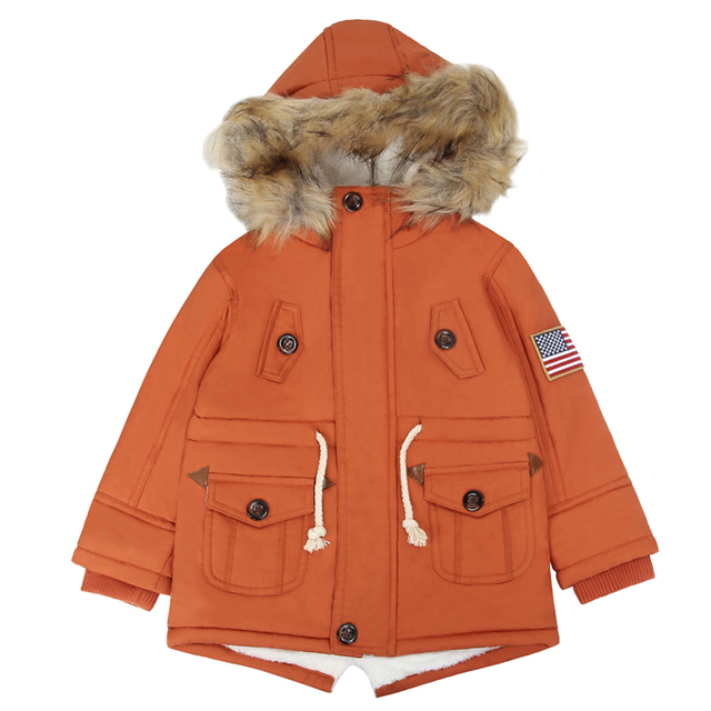 d0978146465c Thick Winter children jackets USA Flag Warmer Coats Hooded Faux Fur ...