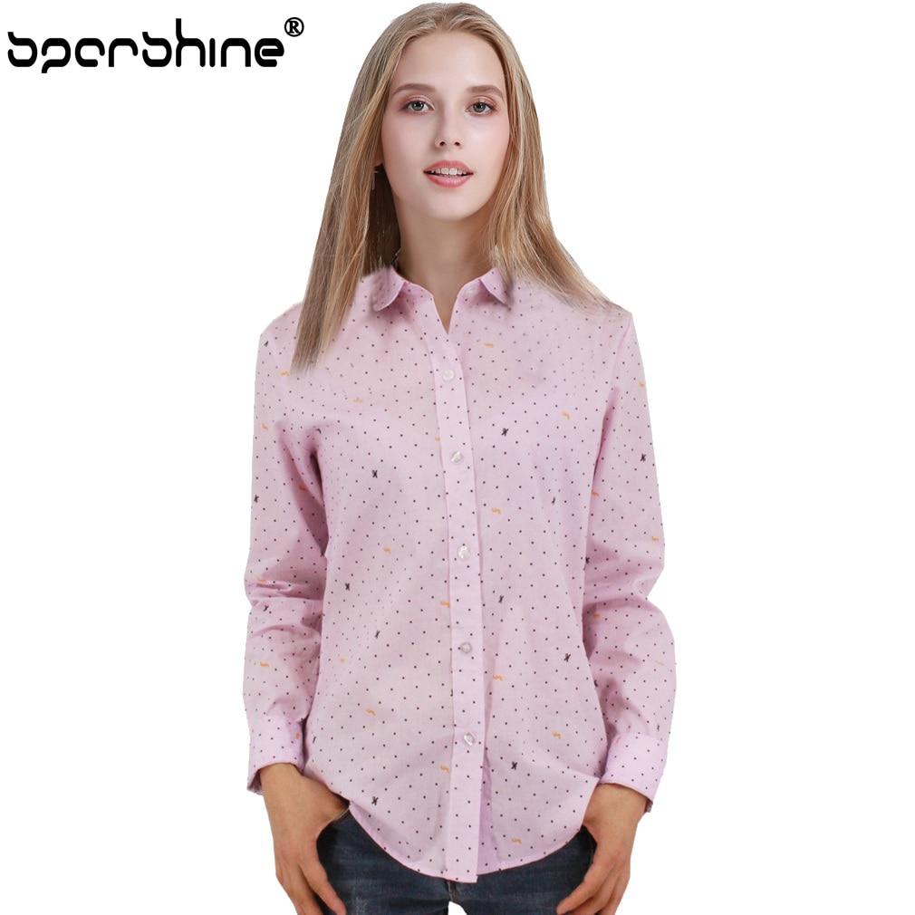 SPARSHINE Polka Dot Printed Shirt Women Blouse Long Sleeve Cotton Work Wear Blouses Blusa Feminina Top Blusas Mujer De Moda 2017 ...