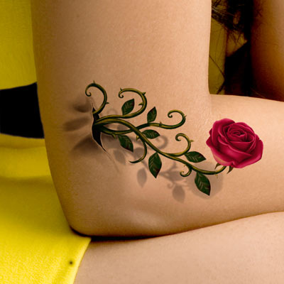 178 Gold Tattoo Realistic 3d Tattoo Sexy Women Waterproof Stereo Rose Paste Cover Scar Photos Posted Photo Summer Flash Tattoo En De En