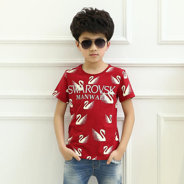 Hot selling new arrival summer design short sleeve cotton baby boy vest pattern red swan t shirt for children good material