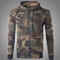 2016 Camisolas Hoodies Dos Homens Camuflagem Estilo Militar Moda Completa Magro O Pescoço Outono Zíper Casaco Sudaderas HombreL-XL W142