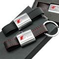 1 pcs Etiqueta Do Carro Auto de Couro Linha Vermelha Preta Esporte SLine para Audi 3 A4 A5 A6 A8 Q5 Q7 TT RS S Linha Chaveiro Chaveiro Keyfob