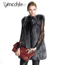 Faux Fox sleeveless coat women 2016 Autumn Winter elegant Fur Vests Fashion Luxury Long Imitation Fur Jacket Overcoat Vest Women