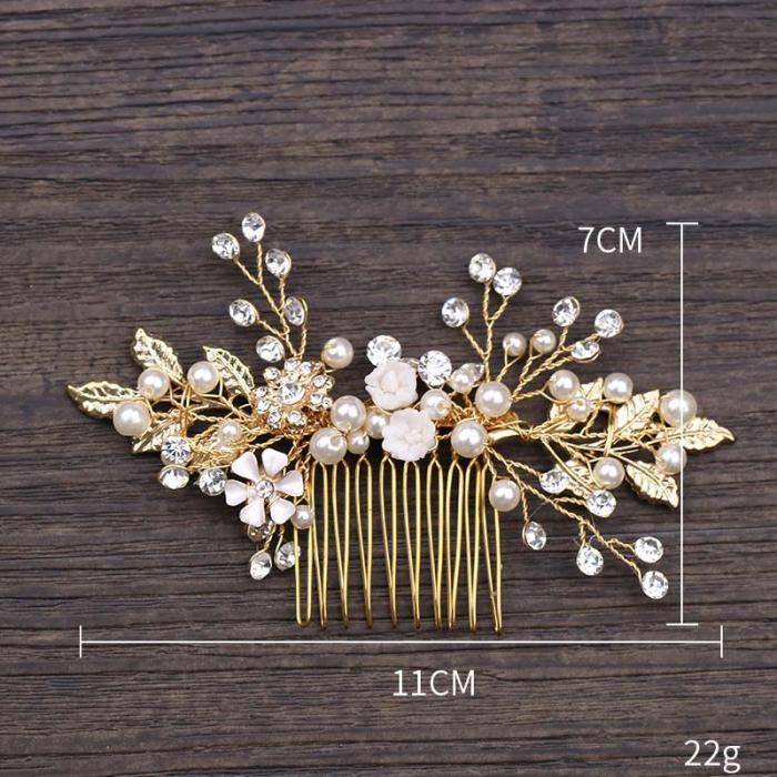 Gold Leaf Flower Pearl Rhinestone Hair Comb Wedding Hair Jewelry 9
