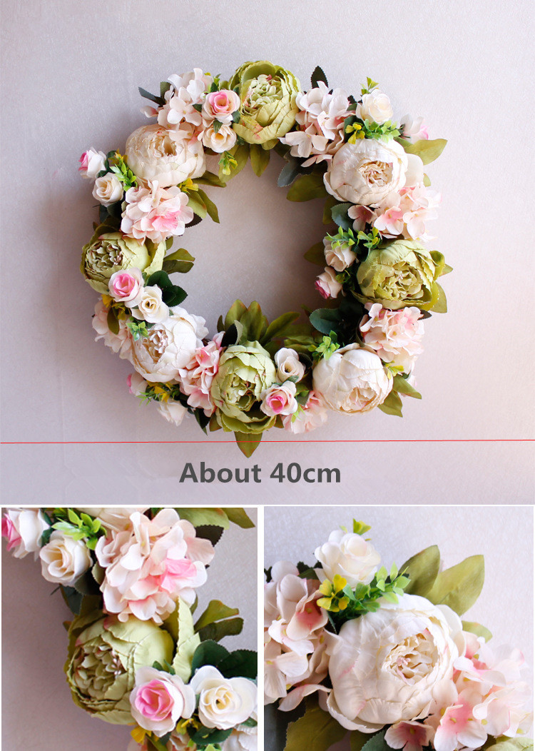 Flone Artificial Peony Wreaths Silk Flower Simulation Flowers Wreaths Door Ornaments Garland Wedding Home Party Decorative (2)