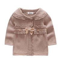 2018 Kacakid 2 Colors Baby Girls Sweaters Peter Pan Long Sleeve Sweater Elegant Girls Bow Knot