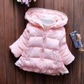 Venta caliente Niños Ropa Niñas Lindo Encaje Outwear chaqueta de invierno niño arrugado niños de la chaqueta de algodón acolchado de invierno Dulces colores