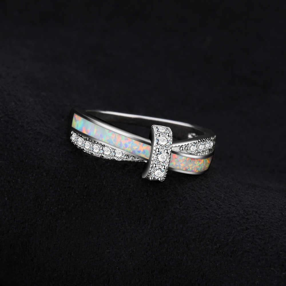 JewelryPalace נוצר לבן אופל טבעת 925 טבעות כסף סטרלינג לנשים Stackable טבעת להקת כסף 925 תכשיטי תכשיטים