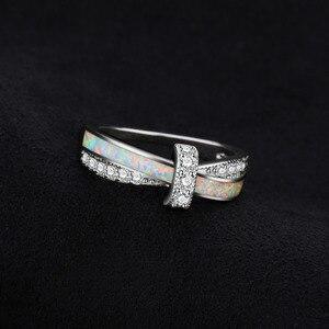 Image 3 - Jewelrypalace Tạo Ra Trắng Opal Nhẫn Nữ Bạc 925 Cho Nữ, Nhẫn Nữ Xếp Chồng Vòng Dây Bạc 925 Trang Sức Mỹ Trang Sức