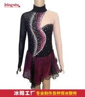 Zwart paars jurken voor kunstschaatsen vrouwen competitition dure schaatsen kleding custom gratis verzending I994