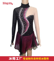 black purple dresses for figure skating women competitition expensive ice skating clothing custom free shipping I994