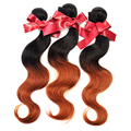 EVET Peruvian Hair Weave Bundles Body Wave Two Tone Ombre Peruvian Virgin Hair 1pcs Unprocessed Human Hair Extensions 50g/pcs