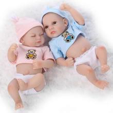 Sleeping Mini Twins Reborn Baby Dolls 11 Inches Full Silicone Newborn Babies A Sleeping Girl And An Awake Boy Kids Holiday Gift