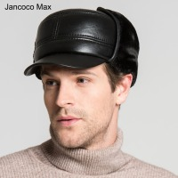 Jancoco Max Men S Real Sheepskin Bomber Hats Spring Autumn Winter Earflap Genuine Leather Caps With